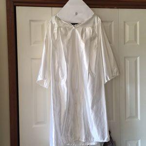 White Graduation Cap & Gown